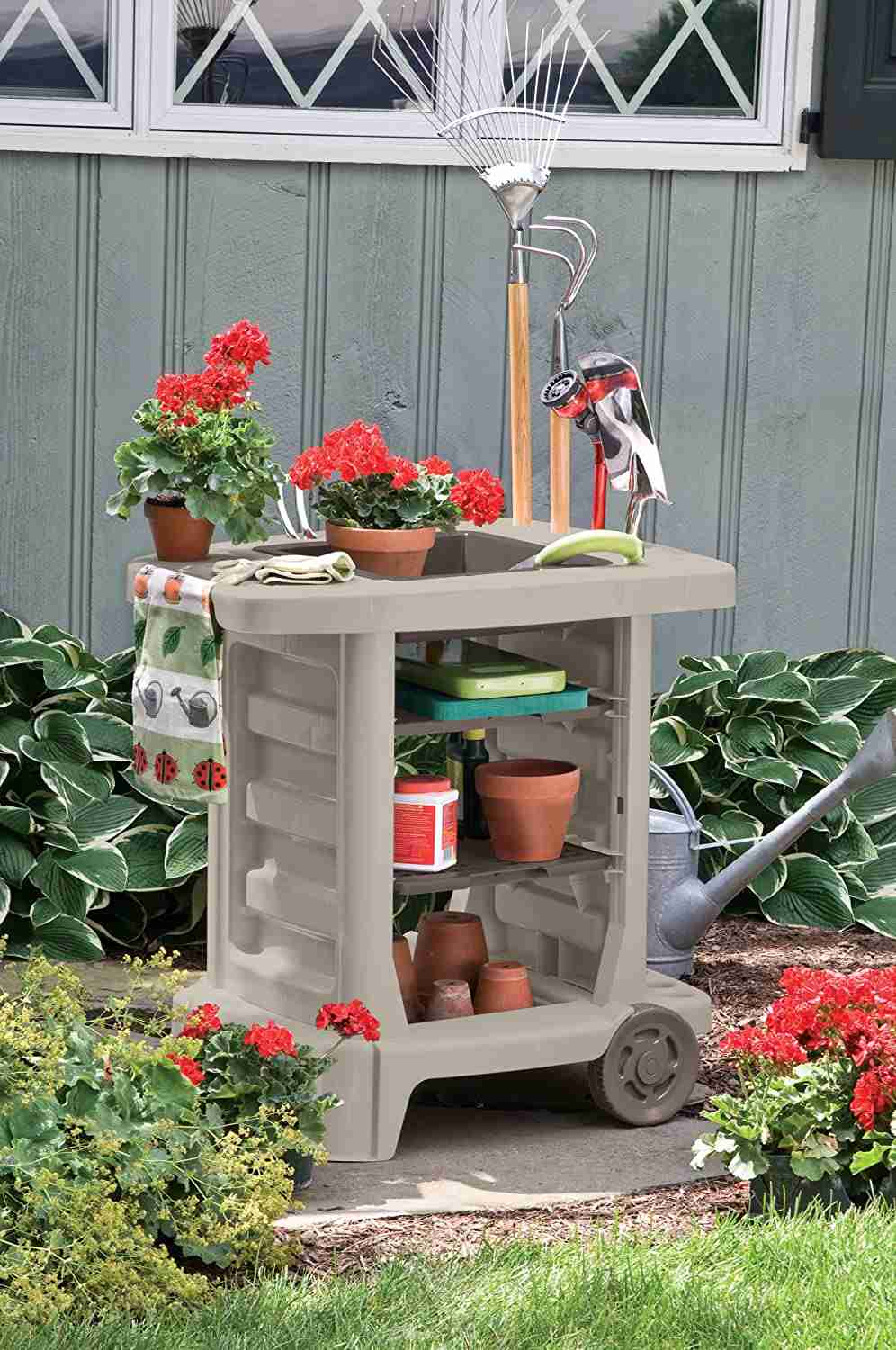 suncast portable outdoor garden cart